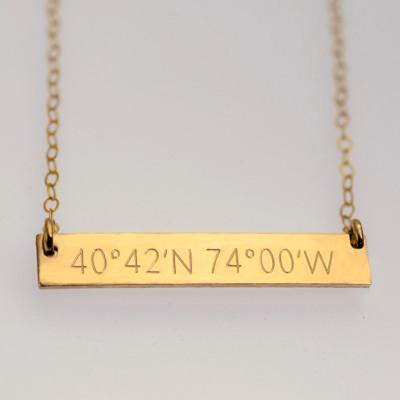 Coordinates Necklace | Coordinates Bar Necklace | Gold Coordinates Necklace | Custom Coordinates  | Rose Gold | Silver