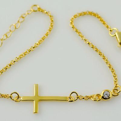 Gold Cross Bracelet, Sideways Cross Bracelet, Cross CZ Bracelet, Horizontal Cross Bracelet, Gold Sideways Cross, Cross Jewelry, Sideways