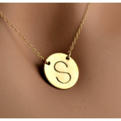 Gold Initial Necklace   Gold Disc Necklace   Personalized Initial Necklace   Celebrity Style   Gold Disc Initial Necklace   Silver Initial