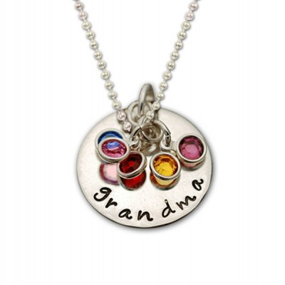 Grandma Necklace Sterling Silver, Personalized Grandma Necklace Silver Birthstone, Grandma Birthstone Necklace, Mimi Necklace, Nana necklace
