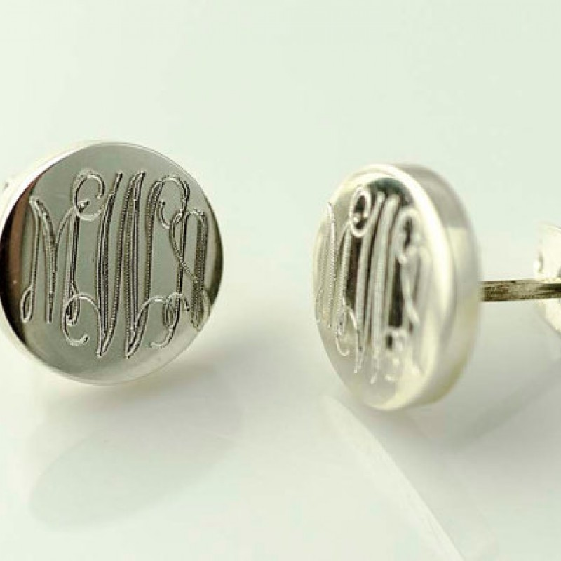 Monogram Earrings Tiny Silver Stud Initial Minimalist Bridesmaid Gift Engraved Sterling Custom