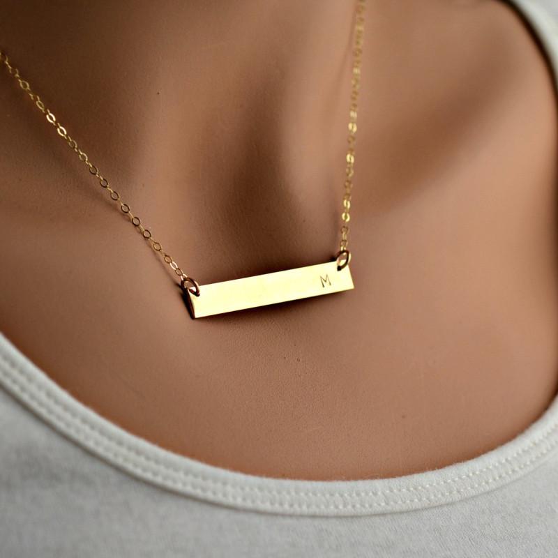 Monogram Gold Bar Necklace Initial Kardashian