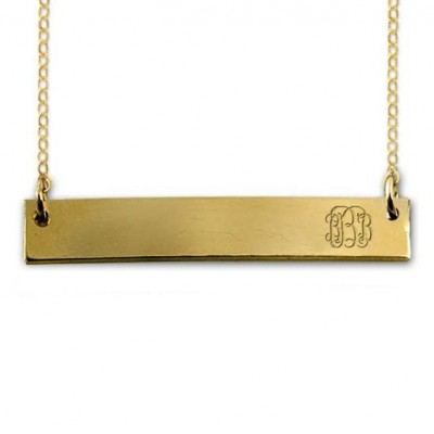 Monogram Gold Bar Necklace | Monogram Bar Necklace | Monogram Necklace | Initial Necklace | Kardashian Necklace | Gold | Silver | Rose Gold