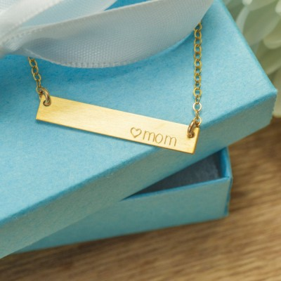 Monogram Mom Necklace, Mother's Day Necklace Gold, Silver, Rose, Horizontal Bar Necklace Mom Gift, Mother Necklace  Names, Mothers Jewelry