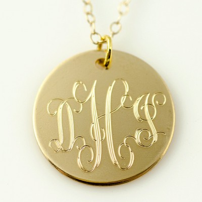 Monogram Necklace - Bridesmaid Gift - Wedding Party - Name Necklace - Initial Silver Gold