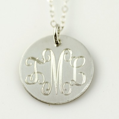 Personalized Necklace - Engraved Monogram Necklace | Gold Monogram Necklace  | Monogram Disc Necklace Silver | Gold  | Rose Gold