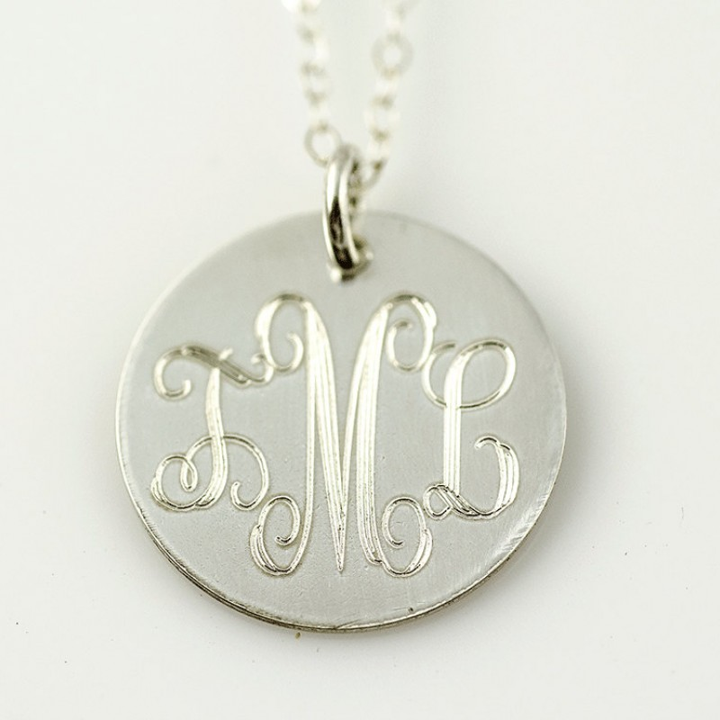304f37517c2256 Personalized Necklace - Engraved Monogram Necklace | Gold Monogram Necklace  | Monogram Disc Necklace Silver | Gold | Rose Gold