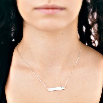 Personalized Silver Bar Necklace | Silver Bar Necklace | Name Bar Necklace Silver | Sterling Silver | Monogram Bar |