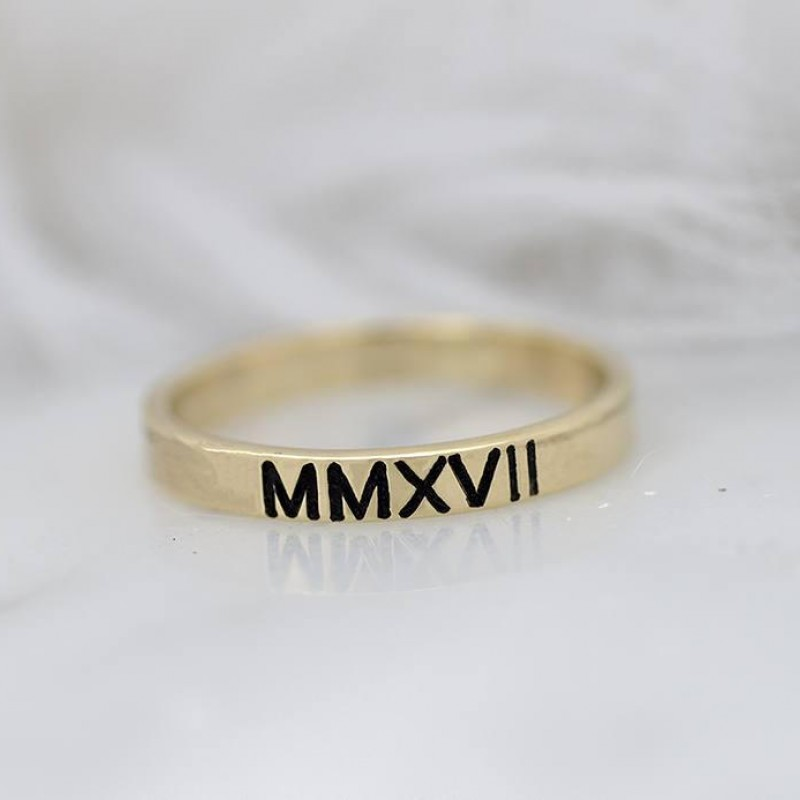 5d817fd45 Roman Numeral Ring 18K, Ring 18k Gold Personalized, Real Gold Ring, Solid Gold  Ring, Date Ring, Graduate Ring, Stamped Ring, Stacking Ring