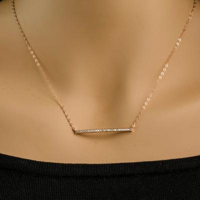 Rose Gold Diamond Bar, Rose Gold CZ Bar Necklace, CZ Bar, cubic zirconia nevklace, Horizontal Bar | Rose Gold Bar |