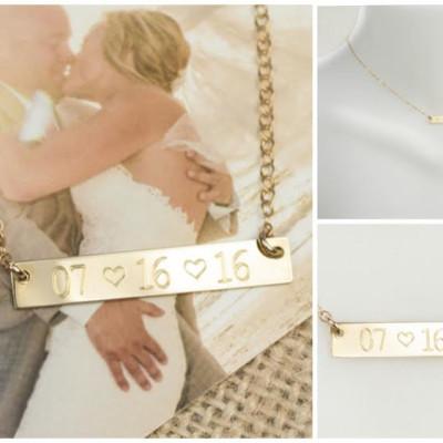 Wedding Date Necklace | Wedding Date Bar Necklace | Wedding Date Jewelry | Date Necklace | Date Jewelry | Date Heart Necklace |  Date Bar