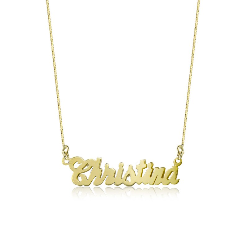 10k Solid Yellow Gold Personalized Custom Cursive Name Pendant Box Chain Necklace Set Alphabet Letter Charm