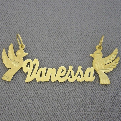 10K or 18k Yellow or White Solid Gold Personalized Name Necklace 2 Birds Laser Cut NN53