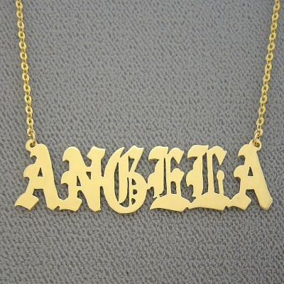 18k Yellow or White Solid Gold Personalized Name Necklace Old English Font All Capitals Upper Cases NN39
