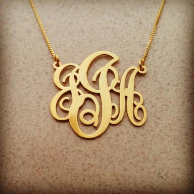 10k Monogram Necklace 10 k Monogram Necklace 10k Gold Monogram Necklace Name Monogram Necklace 10 Carat Gold