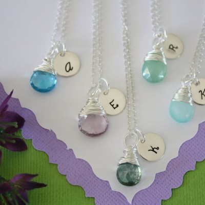11 Bridesmaid Initial Necklace Gift, Personlized Jewelry, Bridal Party, Gemstone and Initial, Gift Set, Sterling Silver, Wedding
