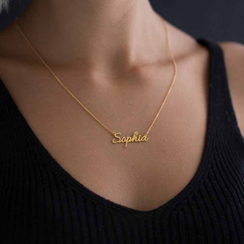 e0527fcaae86d0 18k Solid Gold Name Necklace - Personalized Necklace - Gold Necklace - Gold  Name Plate - Gold Name Jewelry - Bridesmaid Gift - Gift for her