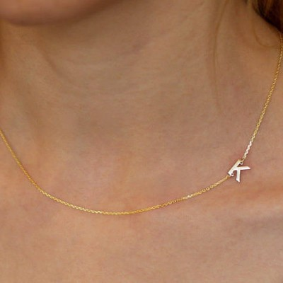 18k Solid Gold Sideways Initial Necklace- Personalized Necklace - Bridesmaids Gifts - Letter Necklace Gold Jewelry-18k Gold Necklace
