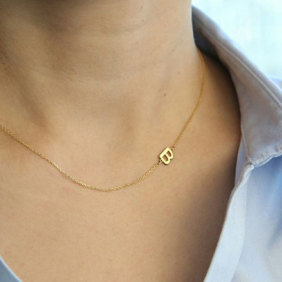 18k Solid Gold Sideways Initial Necklace- Personalized Necklace - Personalized Bridesmaids Gifts - Letter Necklace Gold Jewelry