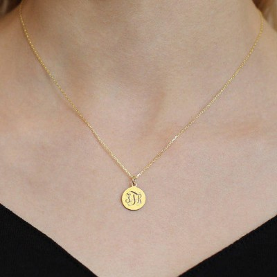 18k Solid Gold Tiny Disc Necklace-Monogram-Personalized Disc Necklace-Gold Initial Disc Necklace-Engraved Disc Necklace-Personalized Gift