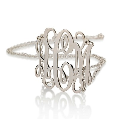18k Solid White Gold Monogram Necklace - 1.5 Inch Personalized Gold Necklace