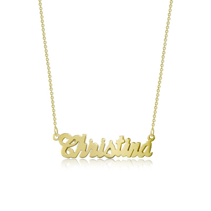 51b09e478659c 18k Solid Yellow Gold Personalized Custom Cursive Name Pendant Rolo Chain  Necklace Set - Alphabet Letter Charm