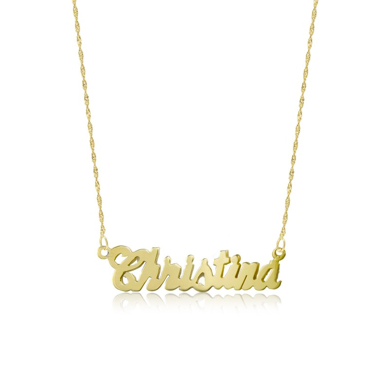 d3af7a854947aa 18k Solid Yellow Gold Personalized Custom Cursive Name Pendant Singapore  Chain Necklace Set - Alphabet Letter Charm