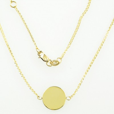 18k Yellow Gold 11mm Round Disc Pendant Charm Engraved Personalized Monogram CKL3769