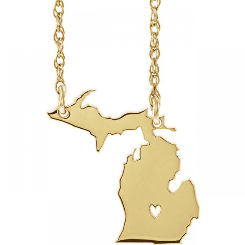 Gold In Michigan Map.14k Yellow Gold 14k White Gold 14k Rose Gold 10k Gold Sterling