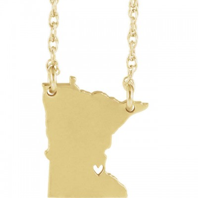18k Yellow Gold 18k White Gold 18k Rose Gold 10k Gold Sterling Silver Minnesota MN State Map Necklace Personalized Heart Pierced City