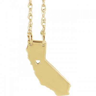18k Yellow Gold 18k White Gold 18k Rose Gold or 10k Gold or Sterling Silver California CA State Map Necklace Personalized Heart Pierced City