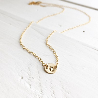 18k Yellow Gold Initial Necklace, 18kt Gold Link Tiny Initial Necklace, Gold Initial Necklace, Everyday Wear, Holiday Gift, Gift for Her