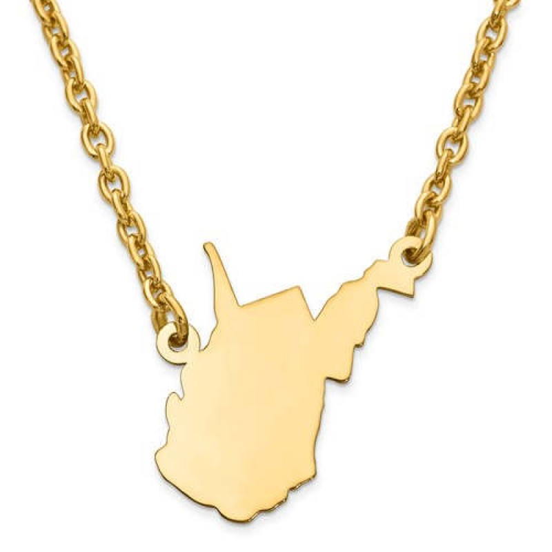 West Virginia US State Map Pendant Necklace in 925 Sterling Silver