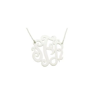 "14WMono125 - 18k White Gold 1.25"" (32mm) Monogram Necklace (0.4mm)thin"