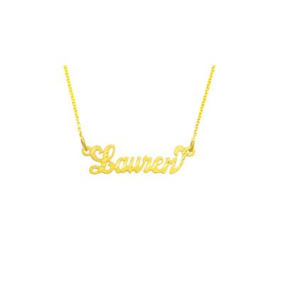 "14YLee319D - 18k Gold 1"" Diamond Cut Script Letter Name Necklace"