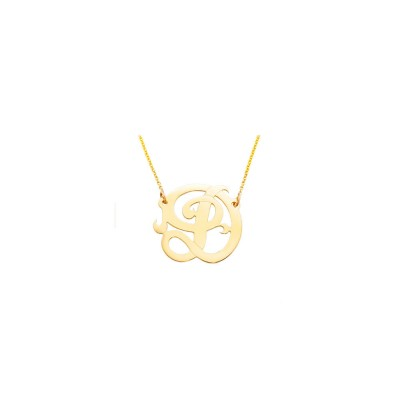 "14YMono085A - 18k Yellow Gold 0.85"" One Initial Monogram Necklace"