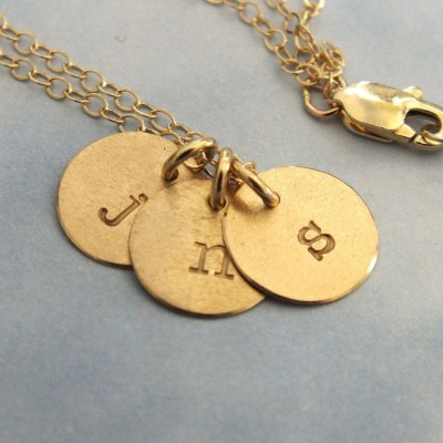 """18k Gold 3 Initial Necklace, 18k 9mm Initial Necklace, 3/8"""" Disc Tiny 18k Gold Charm Necklace, 1.5mm Solid Gold Cable Chain"""