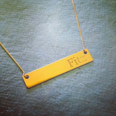 18k Gold Bar Necklace Gold Bar Name Necklace Personalized Gold Bar necklace Celebrity name bar Pure Gold