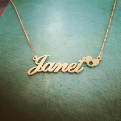 18k Gold Name Necklace/ ORDER ANY NAME/Janet style heart birthstone nameplate necklace/Real gold necklace/nameplate necklace/heart pendant