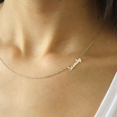 18k Gold Sideways Name Necklace ~ Personalized Mini Name Necklace ~ Name Necklace ~ Thin Gold Name Necklace ~ Valentines Day Gift