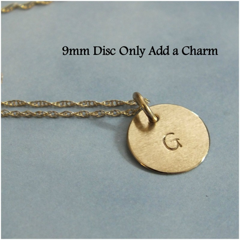 14k Rose Gold 3 Initial Necklace Solid Rose Gold Family Necklace 38 Disc Tiny 14k Gold Charm Necklace 14k 9mm Three Initials Necklace