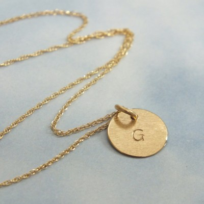 """18k Gold Tiny Initial Necklace, 9mm Solid Gold Initial Necklace, 3/8"""" Minimalist Charm Necklace"""