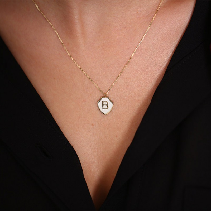 8d40783908b40 14k Initial Necklace with Enamel/ Shield Pendant Personalized ...