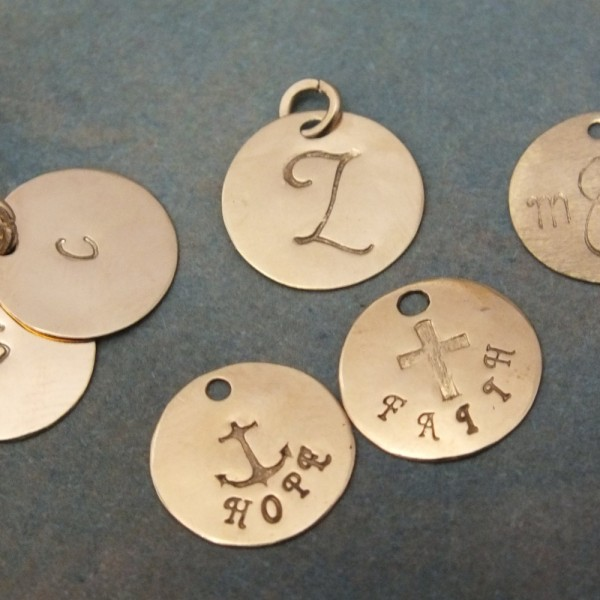 18k Solid Gold 11mm (almost 1/2 inch) Add a Disk - Add an Initial - 18k Real Gold Add On Charm - 18k Gold Initial Charm