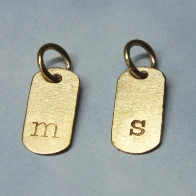 18k Solid Gold Inital Tag, 18k Dog Tag Style Initial, 18k Gold Initial Tag, 18k Add A Charm, Initial Pendant, Lower Case Typwriter Font