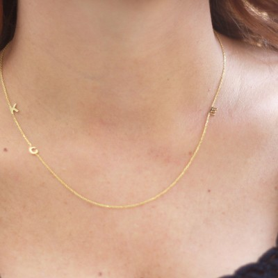 18k Solid Gold Initial Necklace .Three tiny Initial Necklace ,Sideways Letter Necklace,Three Letter Necklace,PERSONALIZED Necklace