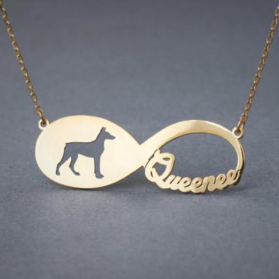 18k Solid Gold Personalised INFINITY DOBERMAN Necklace - 18k Gold Doberman Necklace - Name Necklace