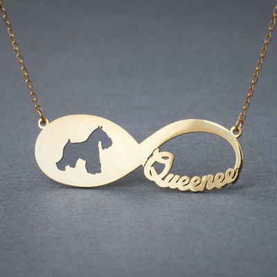 18k Solid Gold Personalised INFINITY SCHNAUZER Necklace - 18k Gold Schnauzer Necklace - Name Necklace