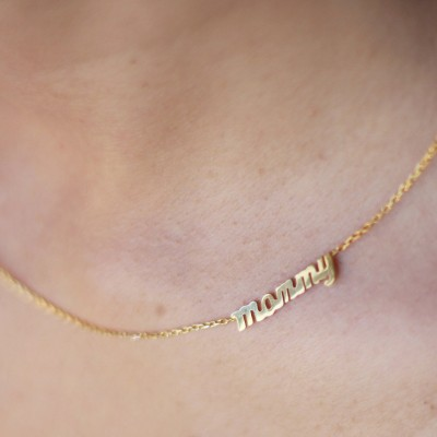 18k Solid Gold Sideways Name Necklace , Personalized Tiny Name Necklace , Silver Name Necklace , Thin Gold Name Necklace , MothersDay Gift