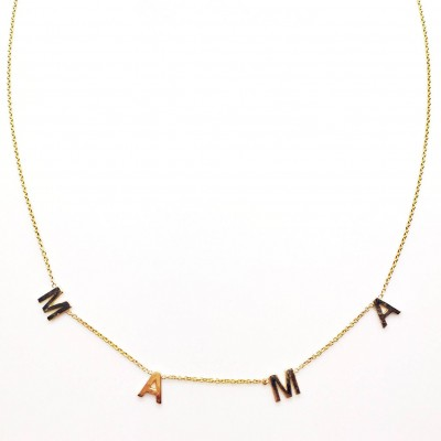 18k Solid Gold Spaced • Letter • Name • Necklace   Rose Gold   White Gold Initial Necklace   Parsonalized Necklace